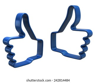 Blue hands with thumbs up