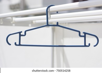 blue hanger on outdoor for hanging cloth