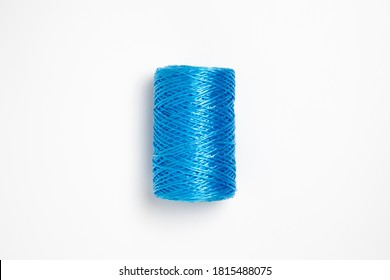 Blue hank of nylon rope isolated on white background.High resolution photo.