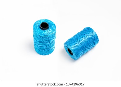Blue hank of nylon rope isolated on white background.High-resolution photo.