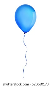 blue happy holiday air flying balloon isolated on white background.