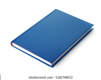 Blue hardcover book isolated on white