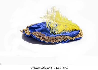 Blue hat with yellow feather of  the Dutch Black Piet