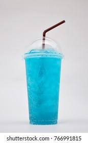 Blue Hawaii Cocktail in plastic glass