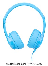 Blue Headphones Isolated on White Background