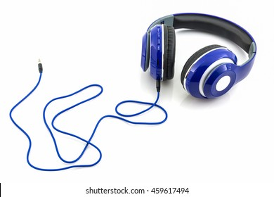 Blue headphones on a white background.