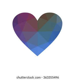 Blue heart isolated on white background. Geometric rumpled triangular low poly origami style gradient graphic illustration. Raster polygonal design for your business.