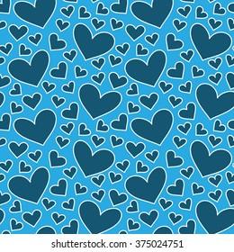 Blue hearts seamless pattern. Valentine's day. Hand drawn background.