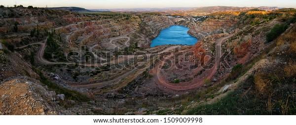 Blue heart-shaped lake, Kadykovsky quarry, Balaklava, Sevastopol, Crimea, Russia.