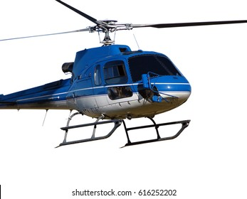 Blue helicopter isolated on the white background