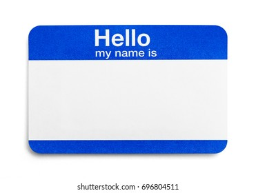 Blue Hello Greeting Name Tag Isolated on White Background.