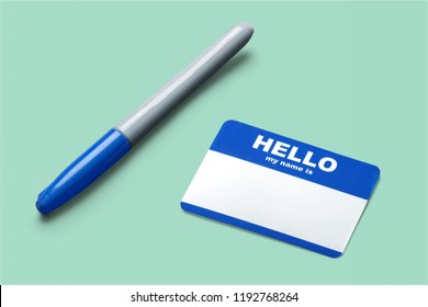 Blue Hello My Name Is Tag and