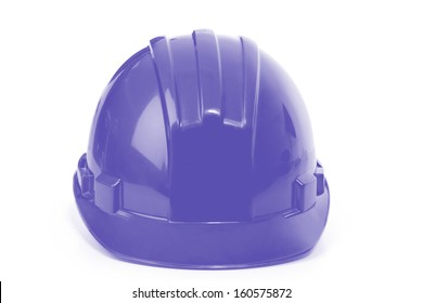 Blue helmet on a white background. Construction