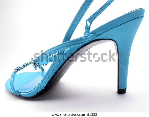 A blue high heeled shoe.