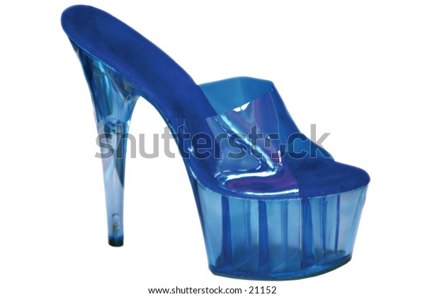 Blue high heeled shoe isolated over white