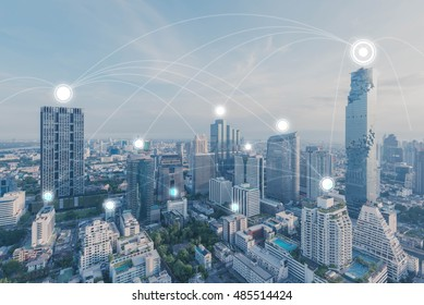 Blue high-tech tone of cityscape connected line, technology concept, internet of things conceptual