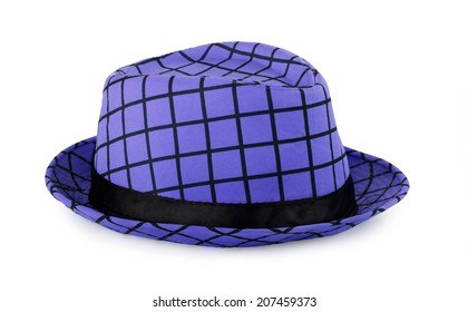 Blue hipster hat on a white background