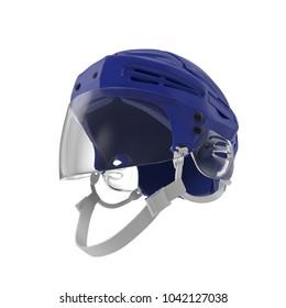 Blue Hockey Helmet on white. 3D illustration