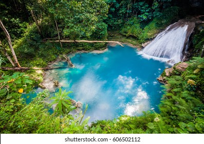 Blue hole waterfall from above in Jamaica