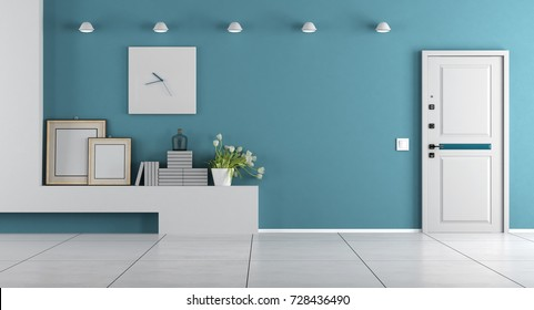 Blue home entrance with armored door and shelf with decor objects - 3d rendering