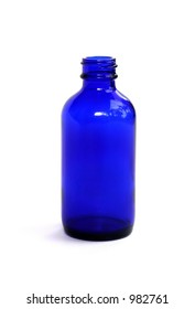 A blue homeopathic medicine bottle.
