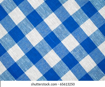 blue horizontal checked fabric tablecloth