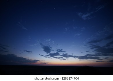 blue hour after sunset in the desert