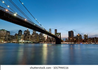 Blue hour at the Brooklyn Bridge.