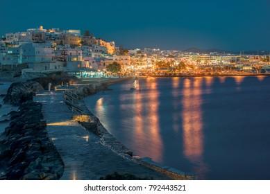 Blue hour at Chora in Naxos island!