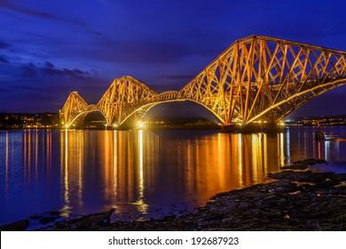 blue hour at Forth Rail Bridge over the Firth of Forth, Edinburgh, Scotland, UK