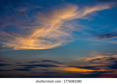 Blue Hour Golden Sky Cloud Sunset