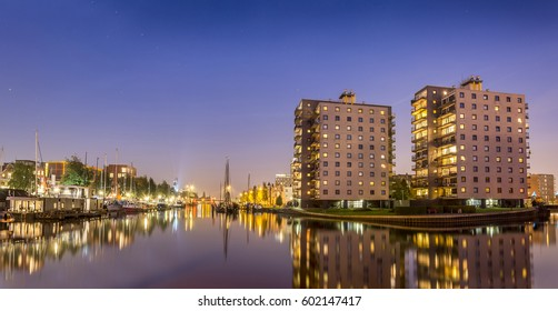Blue hour in Groningen city, Netherlands
