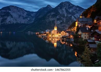 Blue hour in hallstatt - Austria