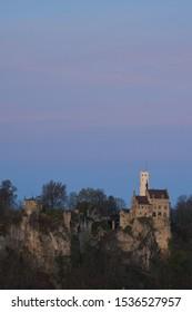 Blue hour at lichtenstein castle on a summer day