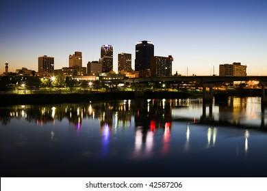Blue hour in Little Rock, Arkansas.