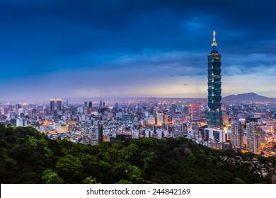 Blue hour night sky and illuminated city lighting of wide cityscape of Taipei, Taiwan/Taipei City View at Night