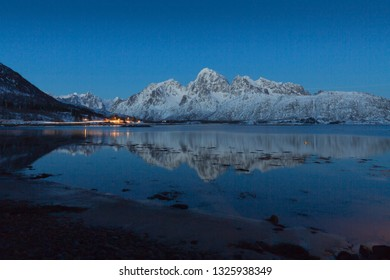 Blue hour on the Lofoten islands, Norway, Europe