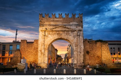 Blue Hour over Arco d`Augusto, Rimini, Italy, July 2016
