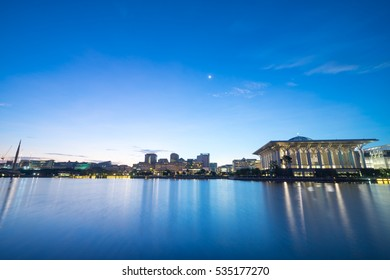 Blue hour over Tuanku Mizan Zainal Abidin Mosque. Also known as Iron Mosque, the Mizan mosque is the second principal mosque in Putrajaya, Malaysia