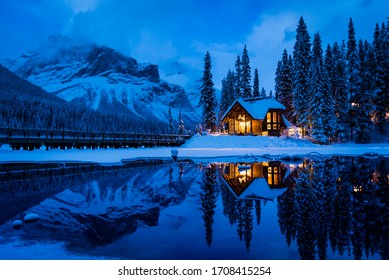 Blue hour overlooking Emerald Lake with Emerald Lake Lodge in the background