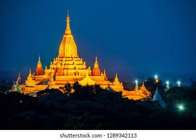 Blue hour and Pagoda at Old Bagan, Myanmar
