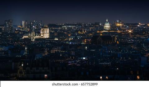 Blue hour Paris cityscape skyline scenic overview