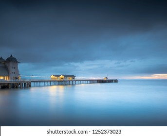 The blue hour at Penarth Pier, Wales.