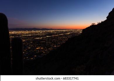 Blue hour photo of downtown Phoenix taken from Camelback Peak