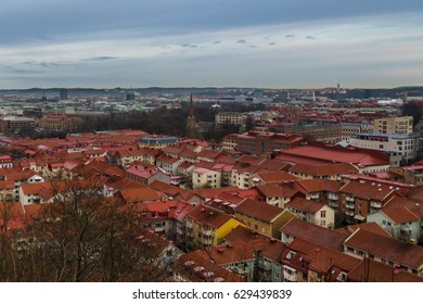Blue hour scene above the roof tops of Gothenburg