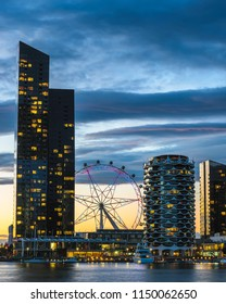 Blue hour setting in as the melbourne star lights up.