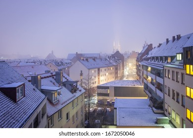 Blue hour with snow in Nuremberg