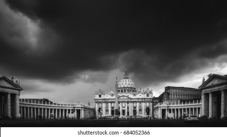 Blue Hour. St. Peter Basilica in the Vatican of Rome, Italy. Landscape Panorama Format
