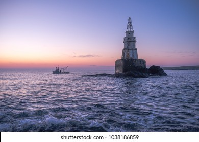 Blue hour at sunrise near Ahtopol Lighthouse