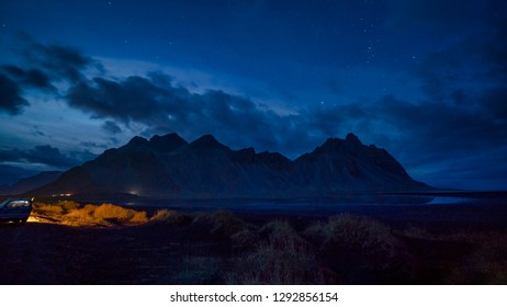 Blue hour sunset at Vestrahorn, a 454 metre tall scree mountain, mainly made up of gabbro and granophyre rocks Stokksnes peninsula, East Iceland.
